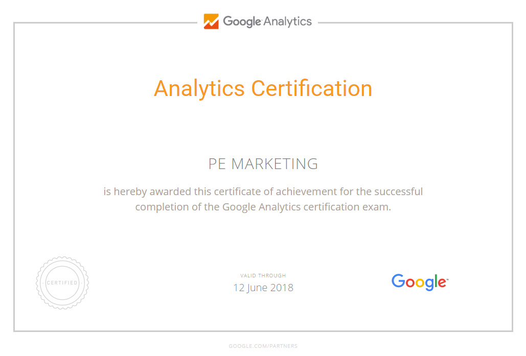 Pe Marketing Is Google Analytics Certified Pe Marketing