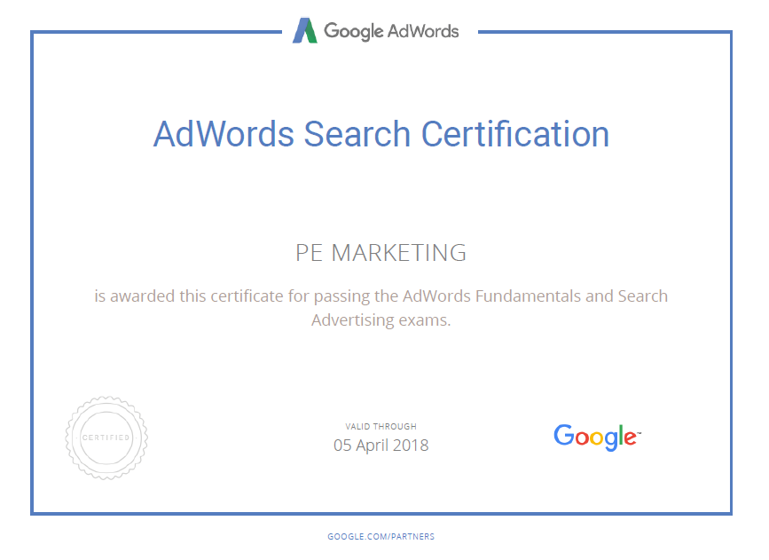 pem adwords certification